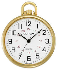 Face Quartz Pocket Watch # Gwc15026G Gotham Men's Gold-Tone Thin Railroad Open