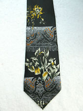 FANCY FLORAL BLACK GREY YELLOW 3.75 INCH WIDE POLYESTER NECK TIE