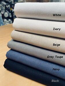 """Plain Linen Cotton Blend Fabric for Home Decor, Curtains, Clothes 55"""" Wide"""