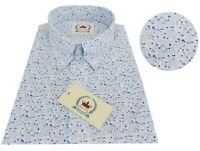 Relco Men's White Blue Floral Long Sleeved Button Down Vintage 60's Mod Shirt