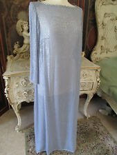 Early Vintage Chiffon completely Hand beaded Silk Dress Gown by Sossy Size 8
