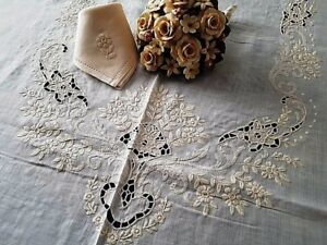 Pure linen tablecloth x12 with hand-carving Embroidery