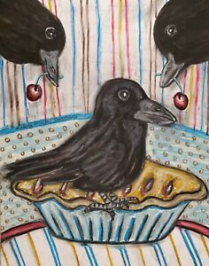 Blackbird Pie ACEO Bird Art Card Print 2.5 x 3.5 Crow Raven Collectible by KSams