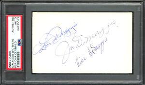 DiMaggio Brothers Autographed 3x5 Index Card Joe, Dom & Vince PSA/DNA 84195083