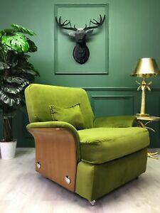 Green Velvet Rare Teak 60's Retro Vintage G PLAN Tulip 'Saddle' Armchair