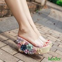 Summer Womens Mules Wedge Heels Flower Platform Sandals Open Toe Shoes Clear New