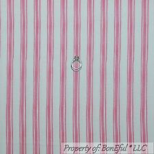 BonEful Fabric FQ Cotton Quilt Pink White Girl STRIPE Calico Sm Ticking Cottage