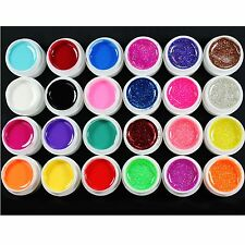 24 Pcs Mix 12 Pur 12 Paillettes Couleur Gel de construction UV pour