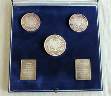 1972 QEII SILVER WEDDING .999 SILVER 5 x MEDAL & STAMP METALIMPORT SET boxed/coa
