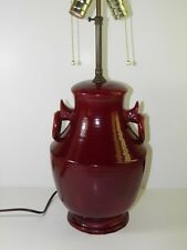 ANTIQUE ITALIAN POTTERY OX BLOOD TABLE LAMP SIGNED