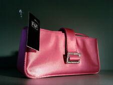 WOMENS LADIES PINK SATIN DIAMANTE BUCKLE CLUTCH BAG EVENING HANDBAG