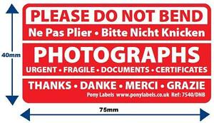 200 Large Do Not Bend Stickers Labels Photographs Certificates photography cards
