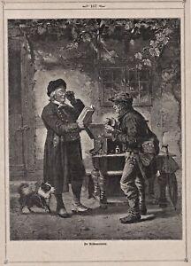 Optiker, Brille - Der Brillenverkäufer - Stich, Holzstich 1878