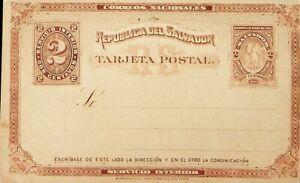 EL SALVADOR 1890 SERVICIO INTERIOR PRINTED 2c UNUSED POSTAL STATIONERY CARD