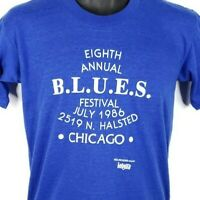 Chicago B.L.U.E.S. Festival T Shirt Vintage 80s 1986 Annual Made In USA Medium