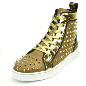 FI-2364 Gold Suede Gold Spikes High top Sneaker Encore by Fiesso