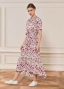 ME+EM Fuchsia Floral Print Fluid Sleeve Midi/Maxi Dress UK Size 6
