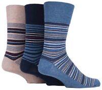 3 Pairs Mens Navy Blue Beige Striped Cotton Gentle Grip Socks, UK Size 6-11
