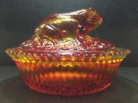 Boyd Crystal Art Glass Frog Covered Dish, Red, Cambridge OH, Mint, Fast Shipping