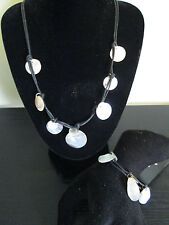 MOTHER OF PEARL NECKLACE & BRACELET SET. BLACK LEATHER THONG. GREAT FOR HOLIDAYS