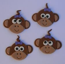 12 edible MONKEY FACES cake topper CUPCAKE DECORATIONS CUTE baby shower jungle