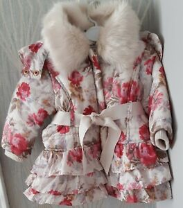 💕 Baby Girls Belted Monsoon Pink Roses Floral Warm Coat 3 - 6 Months VGC 💕