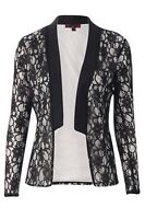 NEW WOMENS LADIES LONG SLEEVE FLORAL LACE OPEN WATERFALL BLAZER JACKET SIZE 8-14