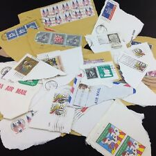 Lot of 27 Used Stamps still on Envelope Corners
