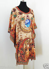 womens tunic kaftan top dress elastic waist dolman sleeves small polycrepe new
