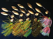 10X 1/2oz Double Blade Spinnerbaits Spinner Bait Soft Plastic Lures BASS TROUT