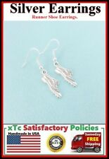 RUNNING SHOES SNEAKERS Silver Dangle Drop Earrings. FITNESS, RUNNER GIFT.