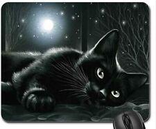 Cat Mouse Pad Mat Mousepad Soft Gaming Computer Black cat in moonlight 8.5''x7''