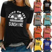 Women Summer Letter Print Short Sleeve Shirt Ladies Casual Tunic Top Blouse Ceng