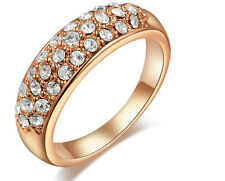 18K REAL ROSE GOLD ROUND RING SIZE 8 (Q) MADE WITH SWAROVSKI CRYSTALS