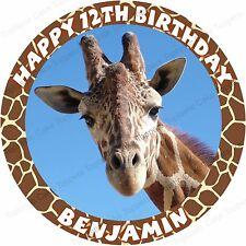 Personalised Giraffe Round Edible Icing Safari Zoo Birthday Party Cake Topper