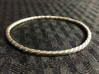 Vintage 925 Sterling Silver Twist Patterned Bangle from Mexico