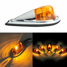 5X Truck Semi-trailer Chrome Base Amber Lens Cab Roof Top Light Amber LED Bulbs