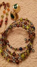 VINTAGE JEWELRY SET LOT NECKLACE BRACELET EARRINGS GREEN AND GOLD TONES
