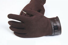 Luxury Mens Winter Warm Faux Leather Gloves Cashmere Full Finger Driving Mittens