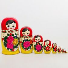 Semenovskaya Traditional Matryoshka Hand-painted Nesting Doll (9 Dolls)