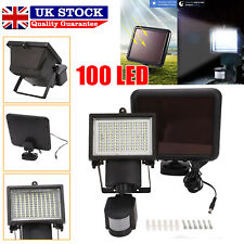100 LED Bright Solar Powered PIR Sensor Flood Security Light Wall Outdoor Garden