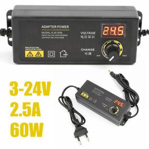 UK 3V-24V Adjustable Voltage 2.5A 60W Power Supply Adapter Charger Transformer