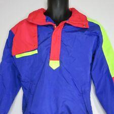Vintage 90s CB Sport Boys 16 Blue Neon Color Block Pullover Jacket Windbreaker