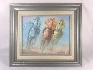 Aanthony Veccio Horse Racing Painting Jockeys   8x10   SIGNED