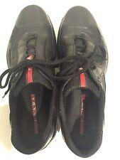 PRADA Mens 7 America's Cup Black Patent Leather / Mesh Sneaker Pre-owned