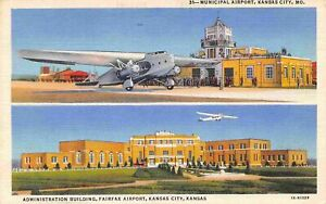 Municipal Airport Planes Kansas City Missouri linen postcard