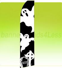 Feather Swooper Flutter Tall Banner Sign 11.5' Flag - GHOSTS Halloween kf
