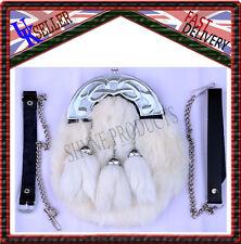 Vestido Largo Sporran Blanco Piel de Conejo & Cromo Pieza Celta 3 Blanco Borlas