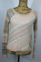 Free People Knit Sweater Size Medium Cropped Fit Boat Neck Pastel Colors