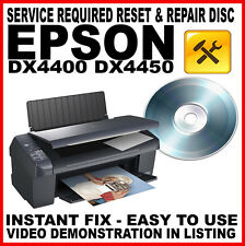 Epson Stylus DX4400 DX4450 Printer:  Service Required Fault Reset Repair Disc
